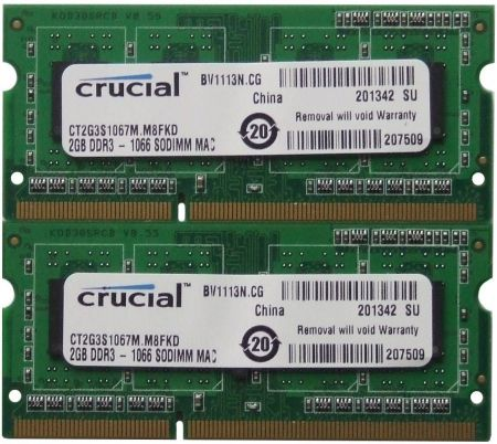 Ram Laptop Crucial DDR3 2GB bus 1066MHz PC 8500 For Macbook